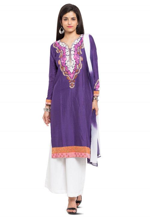 Embroidered Cotton Silk Pakistani Suit in Purple