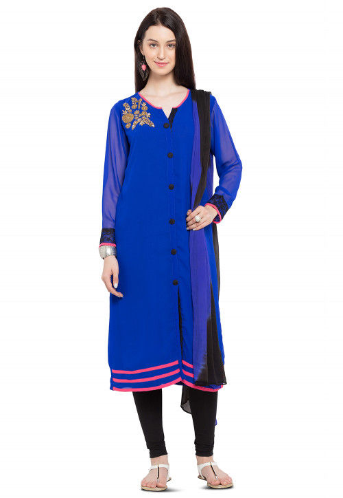Hand Embroidered Georgette Straight Suit in Royal Blue