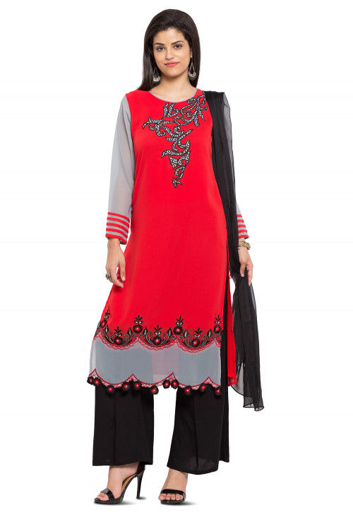 Embroidered Georgette Pakistani Suit in Red and Grey