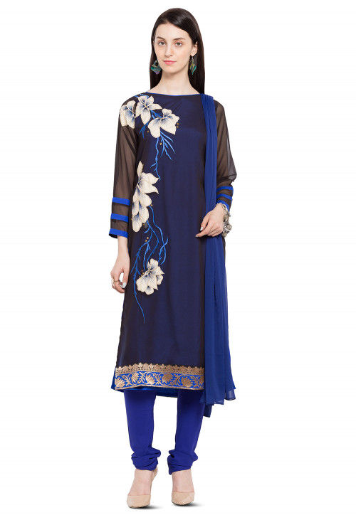 Embroidered Georgette Straight Suit in Navy Blue and Black