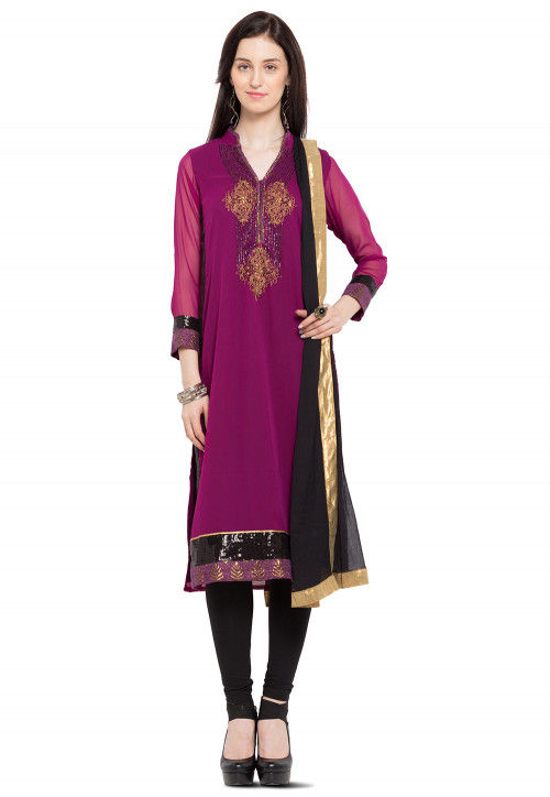 Embroidered Georgette Straight Suit in Magenta