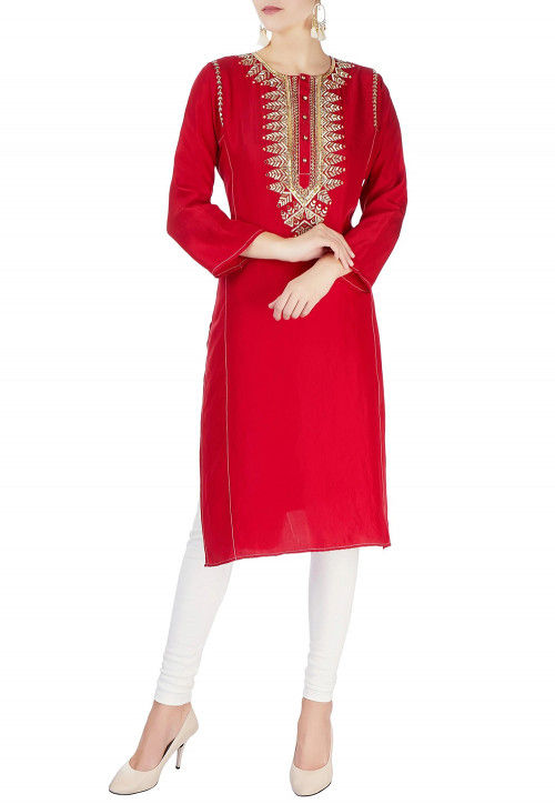 Hand Embroidered Cotton Rayon Straight Suit in Red