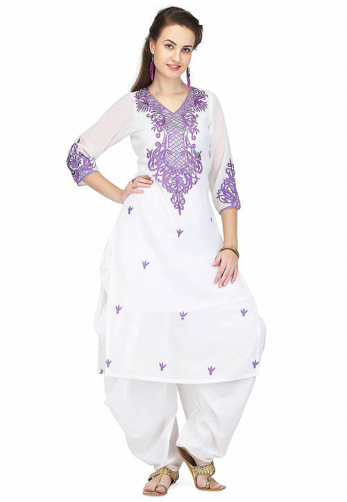 Embroidered Georgette Punjabi Suit in White