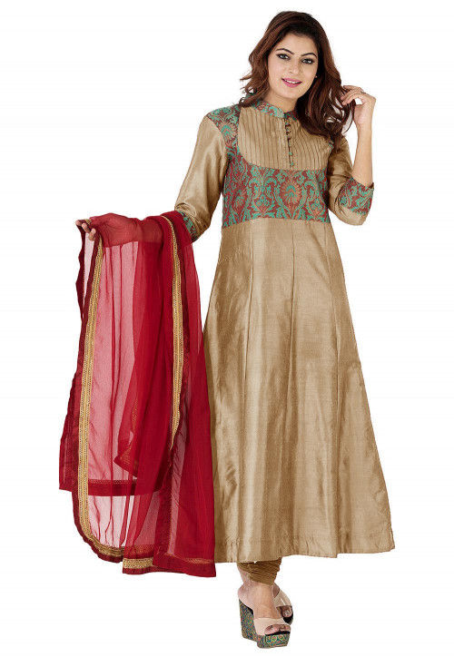 Woven Yoke Art Silk Anarkali Suit in Beige