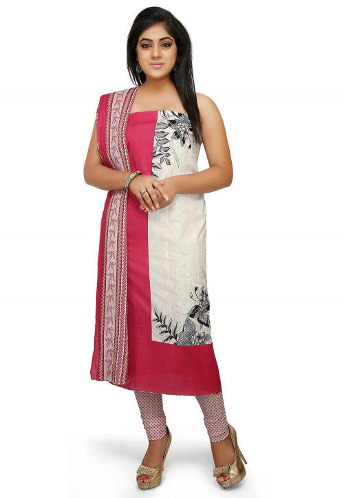 Printed Cotton Straight Suit in White and Fuchsia