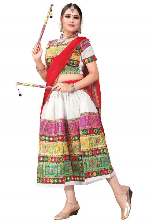 Kutch Embroidered Cotton Lehenga in White and Multicolor