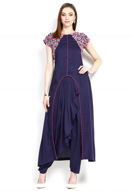 Embroidered Pakistani Rayon Suit in Blue
