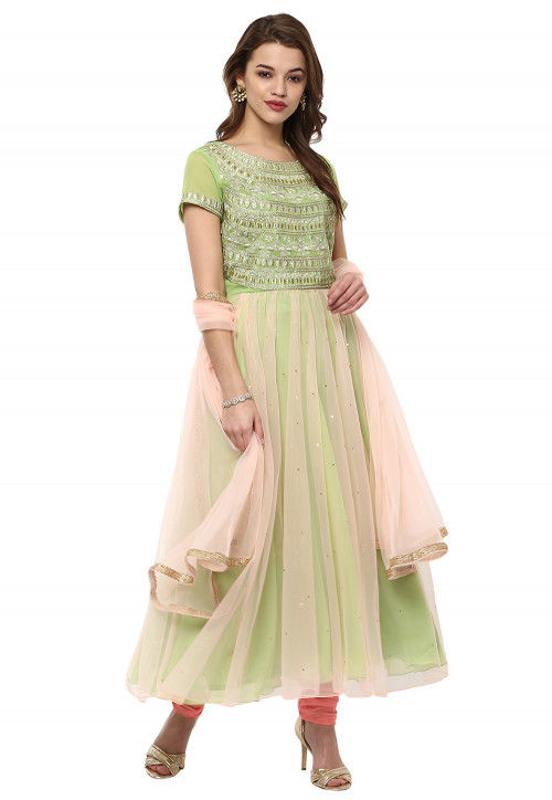 Embroidered Georgette Flared Suit in Light Green