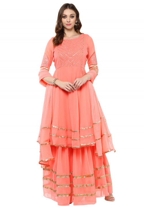 Embroidered Yoke Georgette Flared Suit in Peach