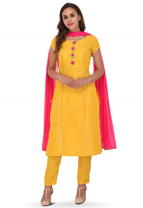 Embroidered Chanderi Silk Straight Suit in Yellow