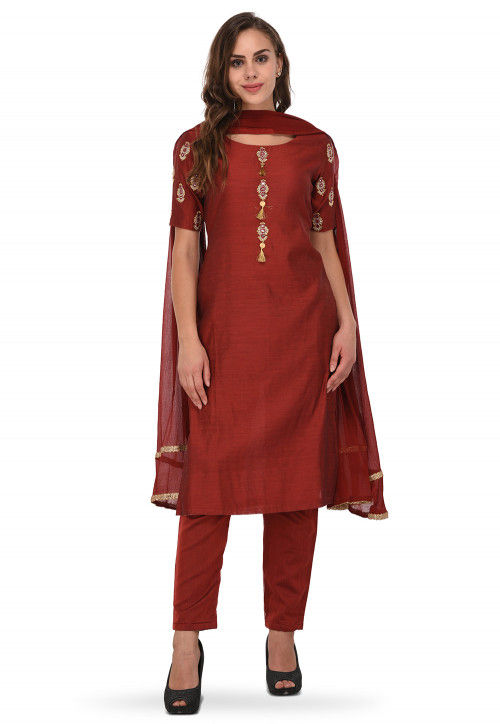 Embroidered Chanderi Silk Straight Suit in Maroon