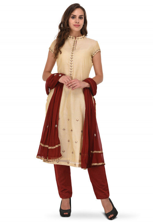 Embroidered Chanderi Silk Straight Suit in Creme