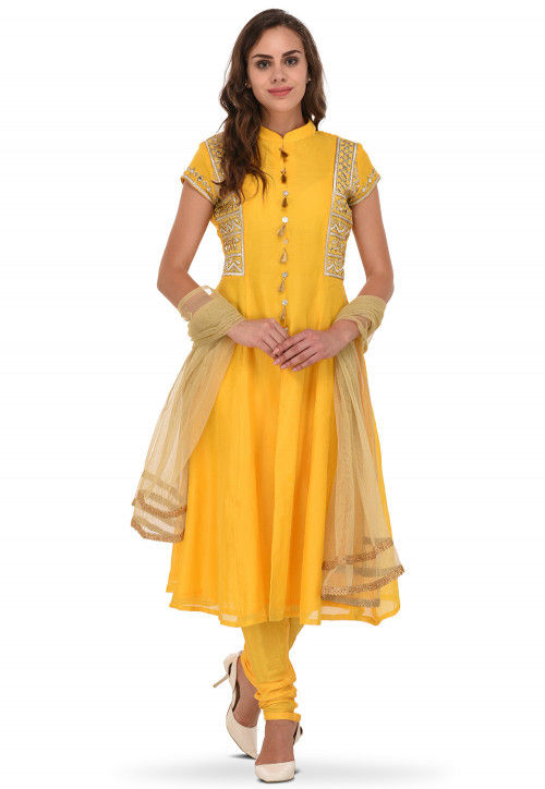 Embroidered Chanderi Silk Anarkali Suit in Yellow