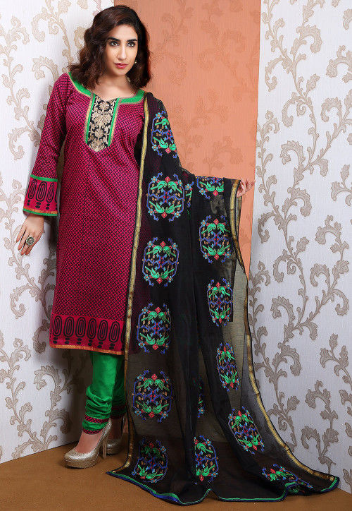 Embroidered Cotton Straight Cut Suit in Fuchsia and Black