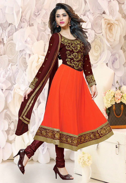 Embroidered Georgette Anarkali Suit in Orange and Maroon