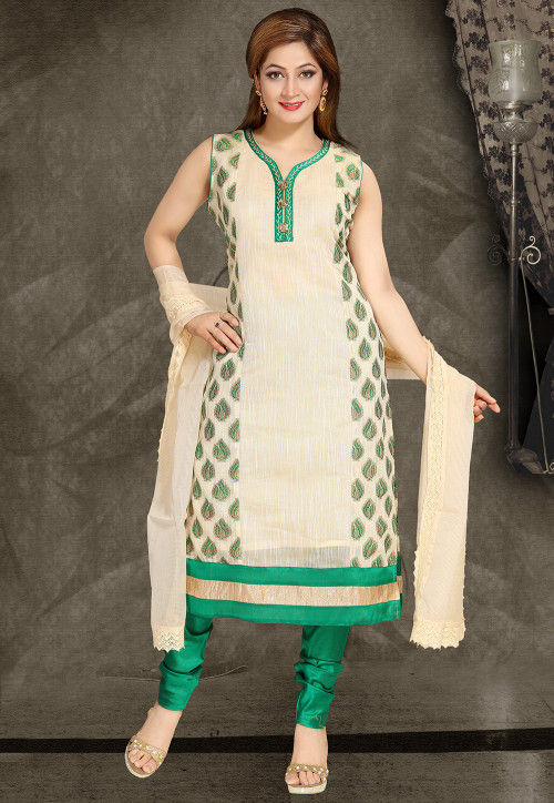 Embroidered Art Silk Straight Suit in Light Beige
