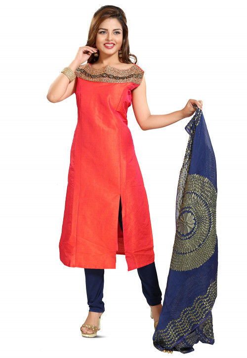 Embroidered Art Silk Straight Suit in Coral Pink
