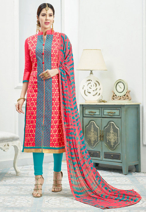 Embroidered Chanderi Silk Straight Suit in Coral Pink