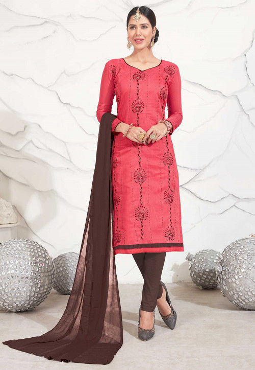 Embroidered Chanderi Silk Straight Suit in Pink
