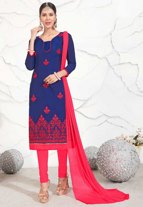 Embroidered Chanderi Silk Straight Suit in Blue