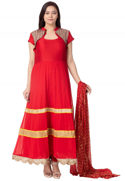 Lace Border Georgette Anarkali Suit in Red