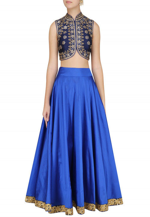 Hand Embroidered Art Silk Lehenga in Royal Blue