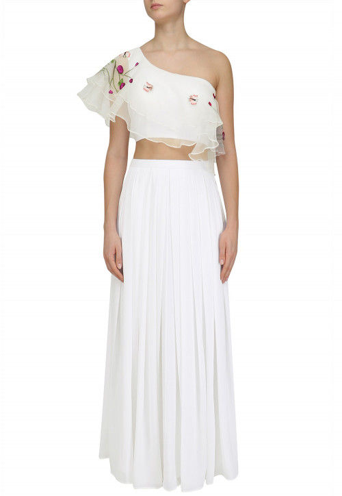 Hand Embroidered Georgette Lehenga in White
