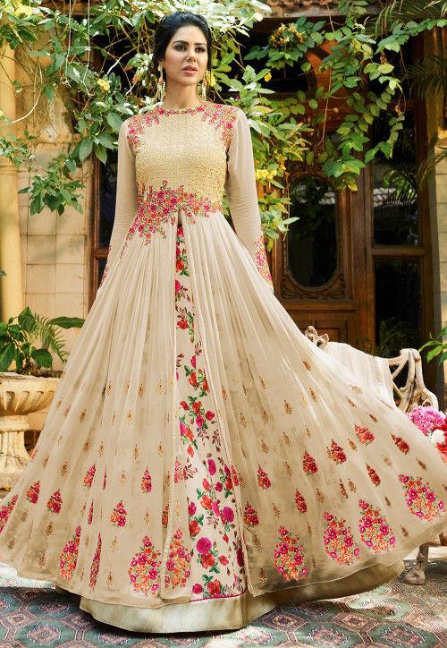 Embroidered Georgette Jacket Style Lehenga in Light Beige