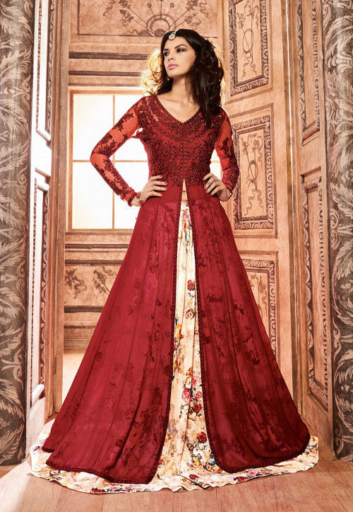 Printed Georgette Lehenga in Maroon