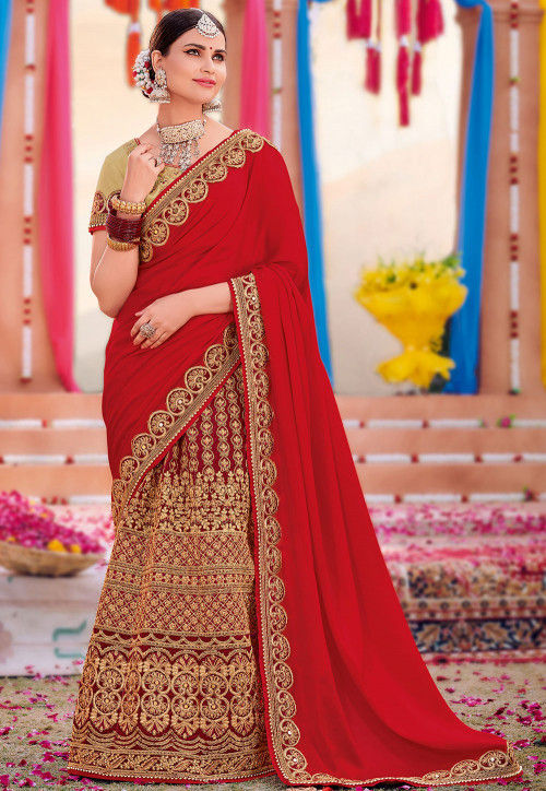 Lehenga Style Georgette Saree in Red and Maroon