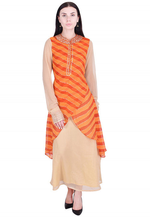 Leheriya Georgette Abaya Style Kurta in Orange and Beige