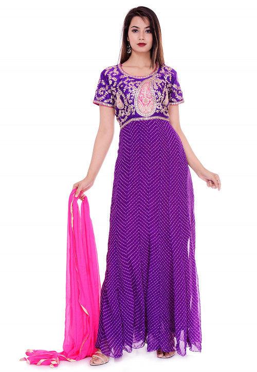 Leheriya Georgette Abaya Style Suit in Purple