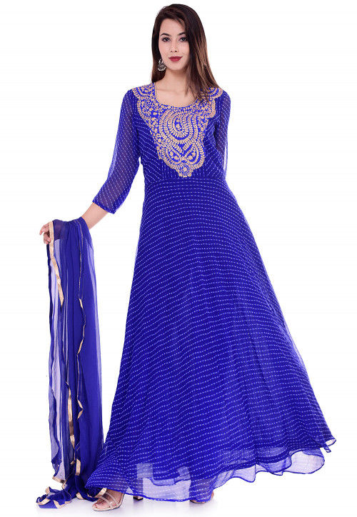 Leheriya Georgette Abaya Style Suit in Royal Blue