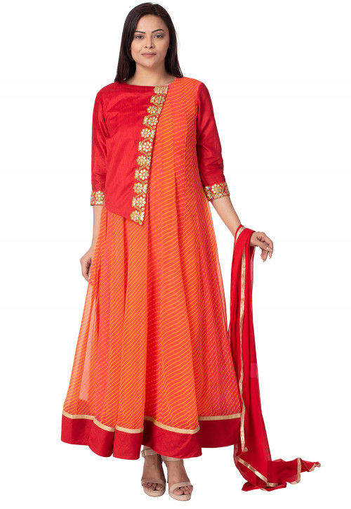 Leheriya Printed Georgette Abaya Style Suit in Orange and Red