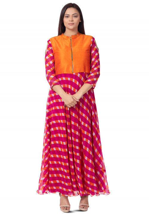 Leheriya Printed Georgette Long Kurta in Magenta and Orange