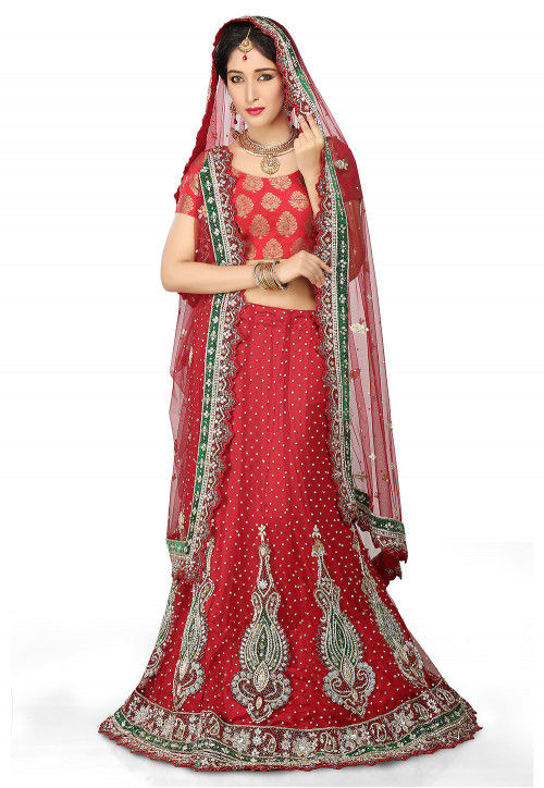 Hand Embroidered Velvet Lehenga in Red