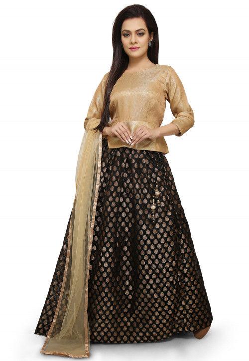 Woven Chanderi Silk Jacquard Lehenga in Black