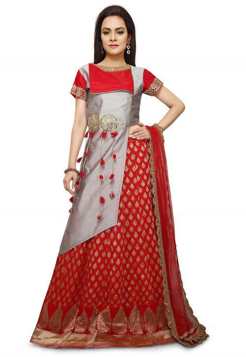 Woven Art Silk Lehenga in Grey and Red