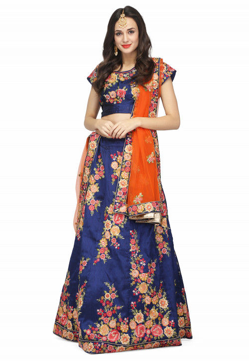 Embroidered Raw Silk Lehenga in Royal Blue