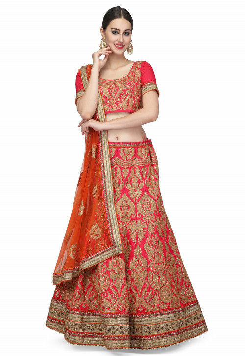 Embroidered Raw Silk Lehenga in Coral Pink