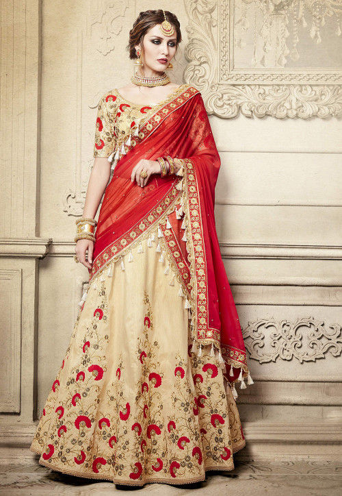 Embroidered Handloom Art Silk Lehenga in Beige