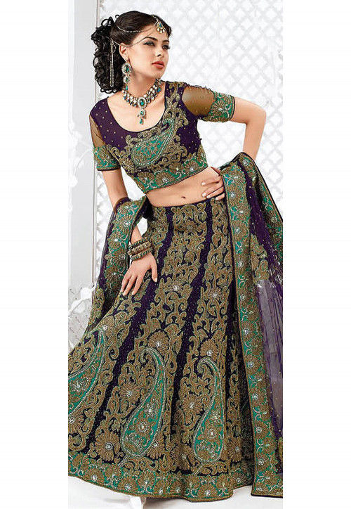 Embroidered Net Lehenga in Violet