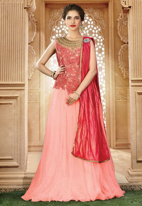 Embroidered Net Lehenga in Baby Pink