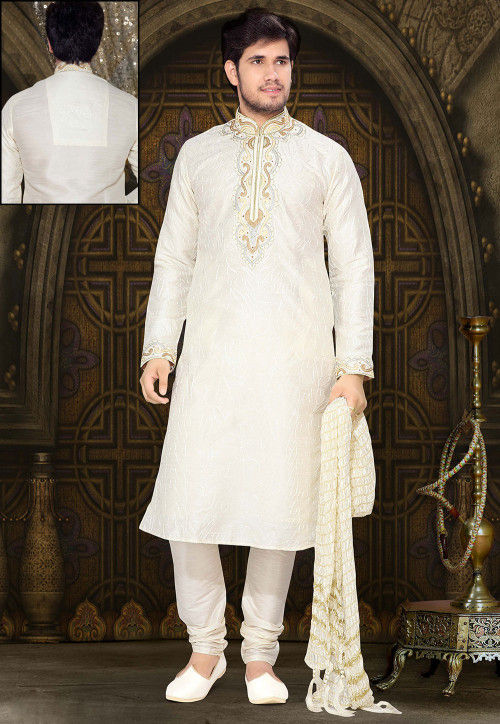 Embroidered Off White Art Silk Kurta Set