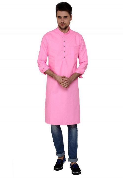Plain Cotton Kurta in Pink