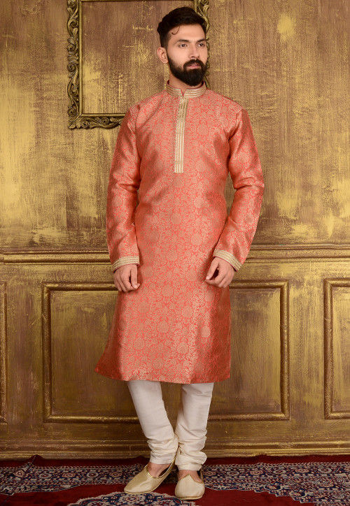 Woven Art Silk Jacquard Kurta Set in Peach