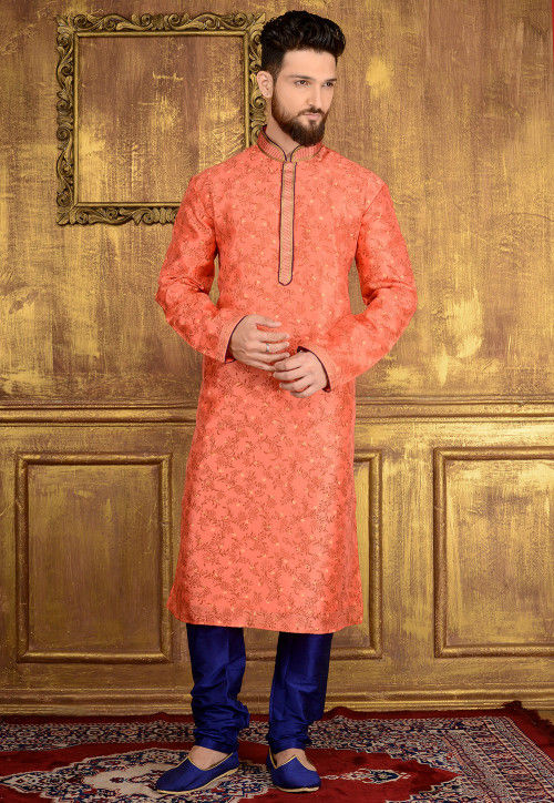 Block Printed Art Silk Kurta Set in Peach