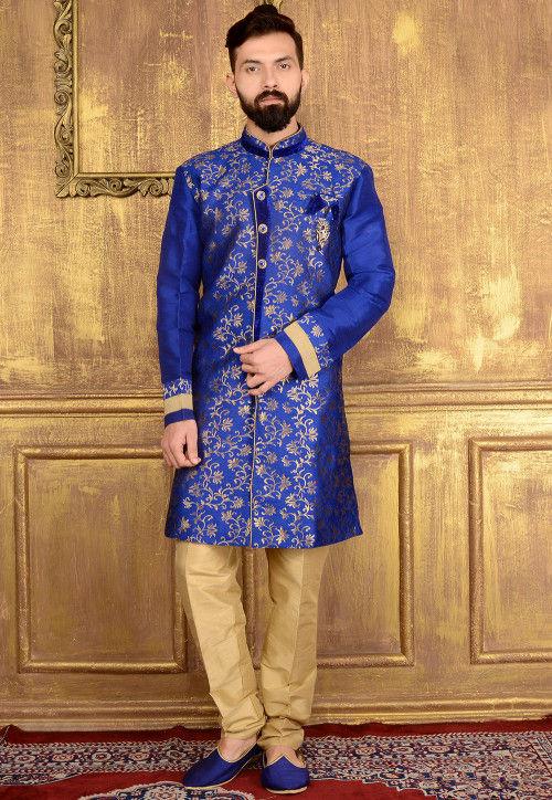 Woven Art Silk Jacquard Sherwani in Blue