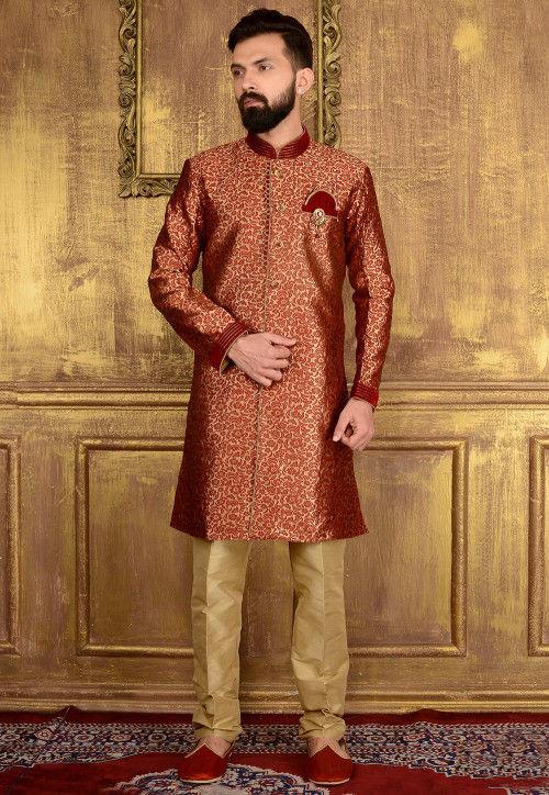 Woven Brocade Silk Sherwani in Maroon