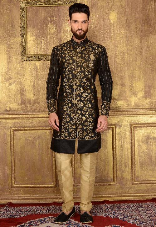 Woven Art Silk Jacquard Sherwani in Black